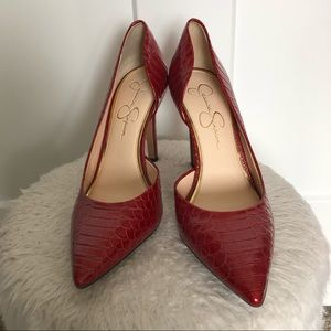 Red faux snakeskin heel